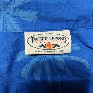 Pacific Legend Apparel Shirts - PACIFIC LEGEND Blue Hawaiian Parrot Shirt Large